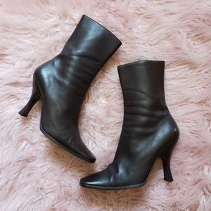 PRADA  Leather Heel Boots in Chocolate Color 37.5